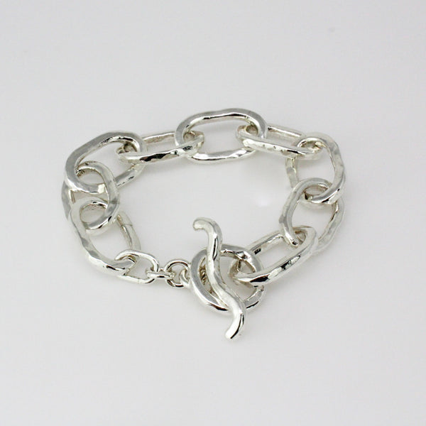 Chunky Hammered Texture Oval Link Bracelet