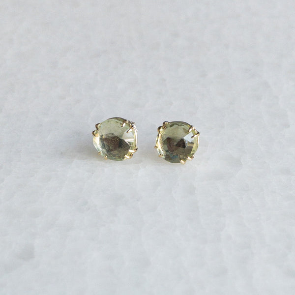 Green Amethyst Rose Cut Stud Earrings