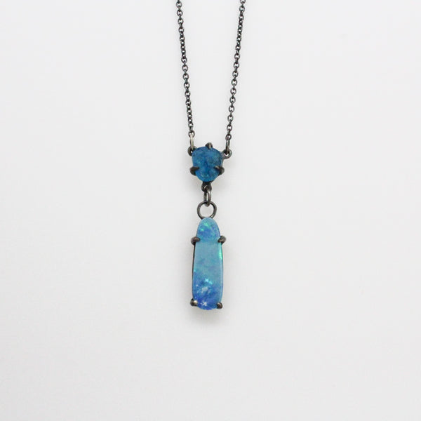 Blackened Opal and apatite drop Necklace