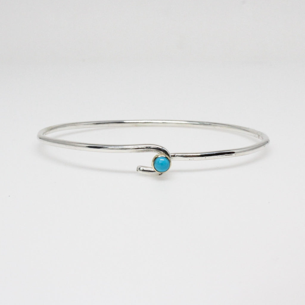 Turquoise Ball and Hook Bangle Bracelet in Silver and Gold