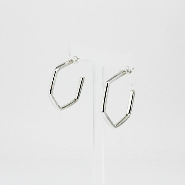 Silver Beveled Edge Mod Hoops