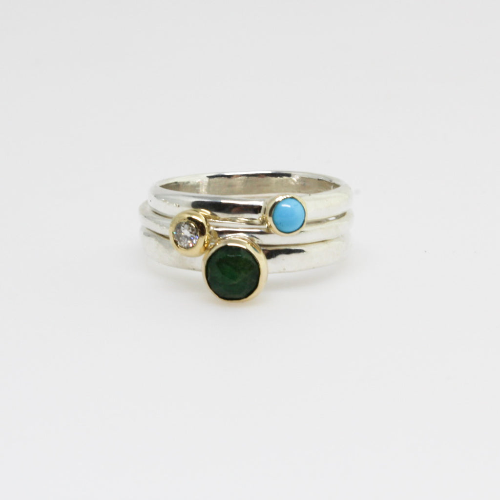 Emerald Two Tone Stack Ring