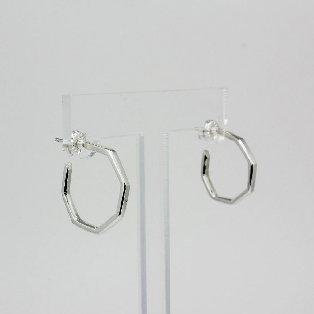 Small Mod Octagon Silver Hoops
