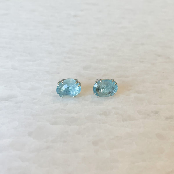 Aquamarine Rose Cut Stud Earrings