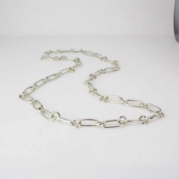 Rectangle round link Necklace-Triple Wrap bracelet