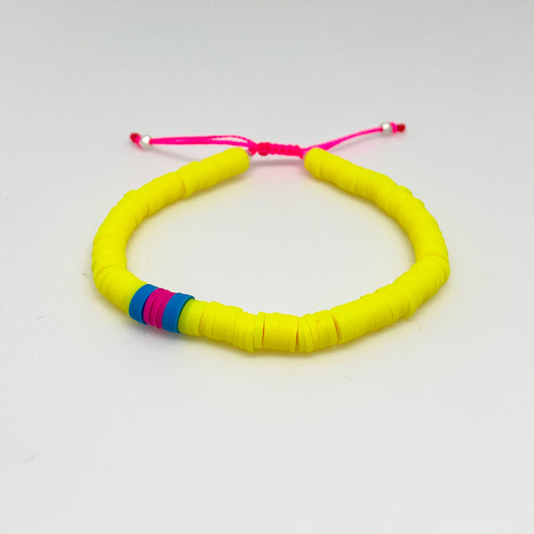 Neon Yellow and Pink Vinyl Bracelet