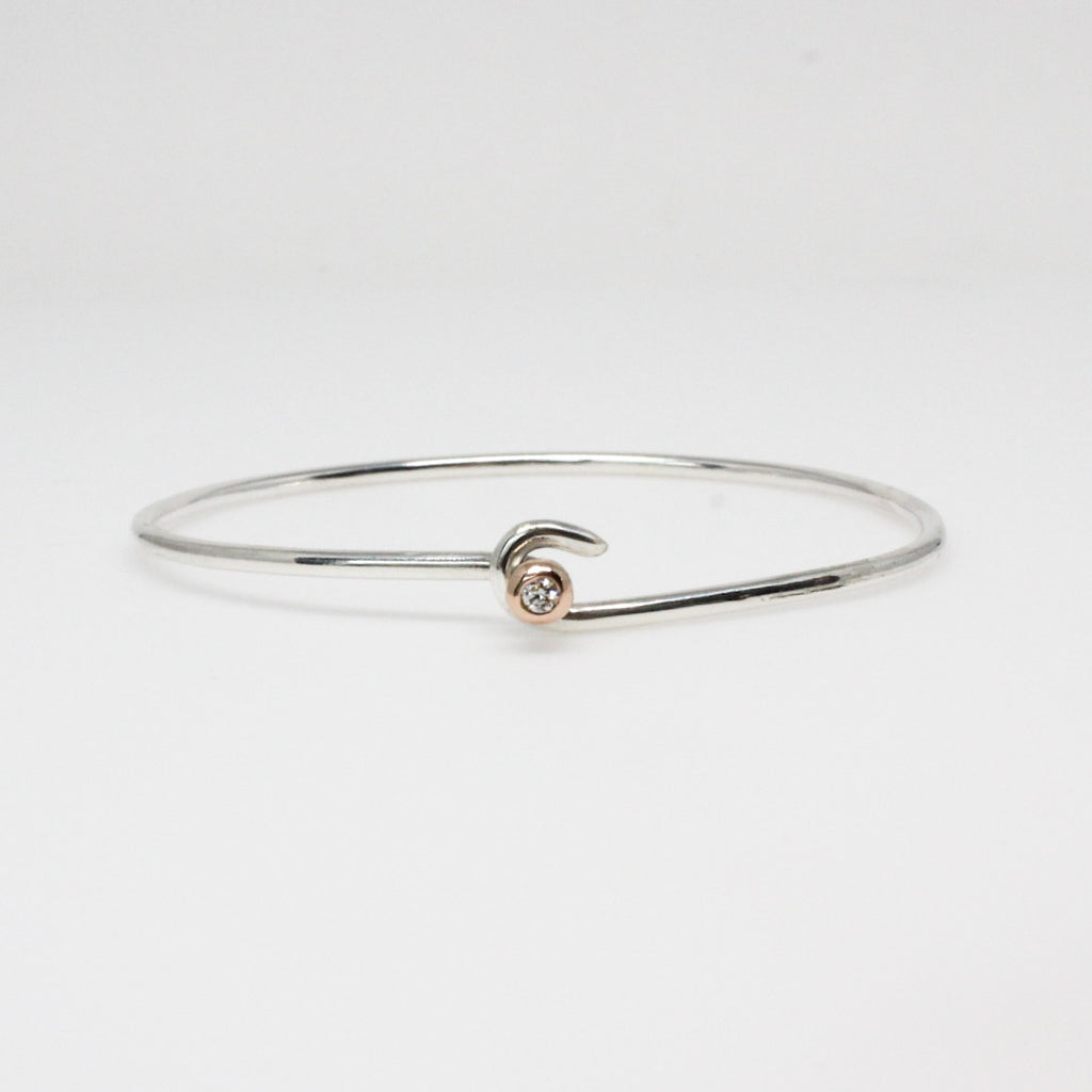 Diamond Ball and Hook - Sterling Silver and Rose Gold