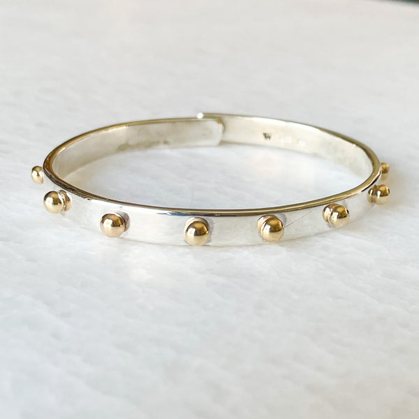 Bold Beach Bangle- Silver/14k Gold