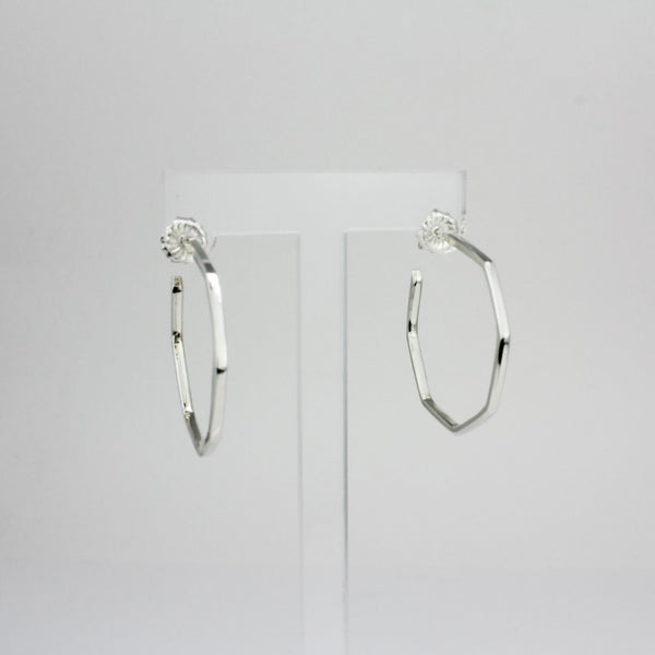 Large Sterling Silver Mod Octagon Hoop Earrings
