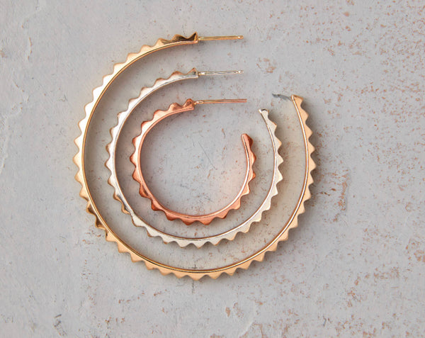 Silver/Rose Gold/Yellow Gold Pyramid Hoop Earrings