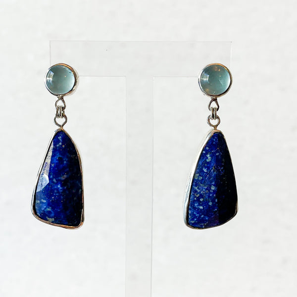 Aquamarine and Lapis Drop Statement Earrings