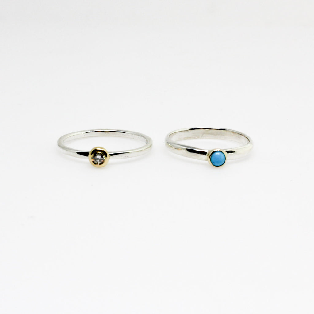 3mm Two Tone Turquoise Stack Ring