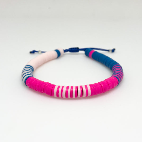 Bright Pink and Blue Mixed Vinyl Bracelet