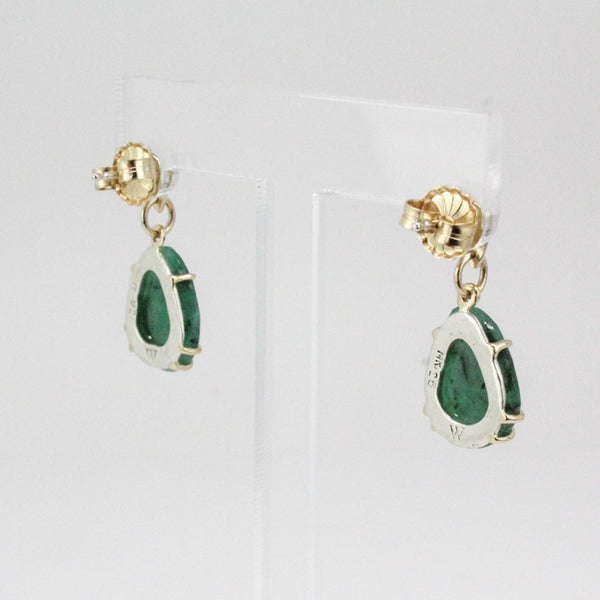 Emerald Rose Cut Teardrop Earrings