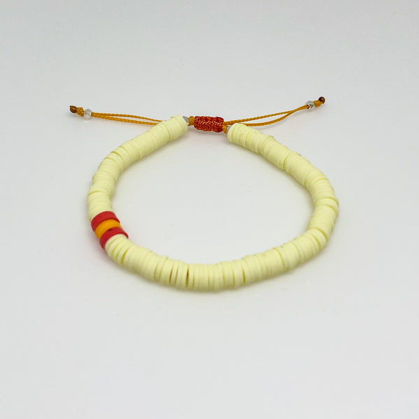 Light Yellow and Orange Vinyl Bracelet