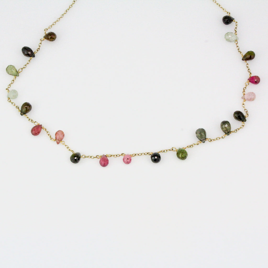 Mixed Tourmaline Briolette Necklace-14k Yellow Gold