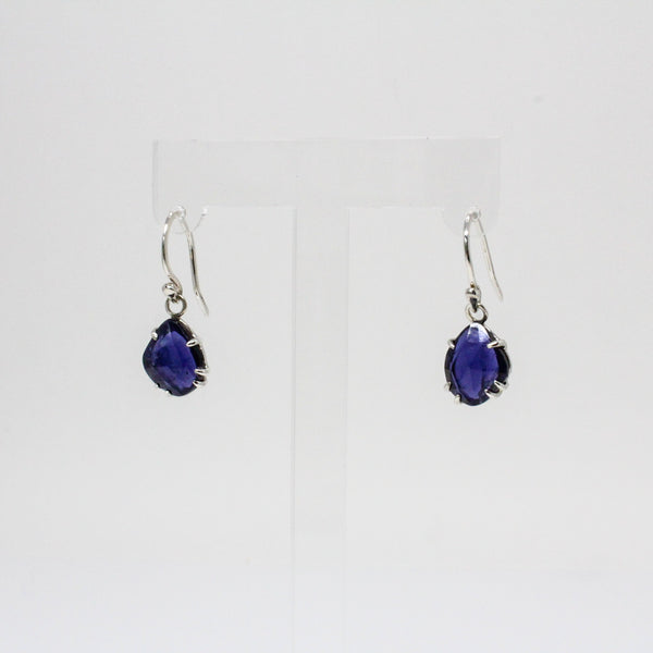 Iolite Drop Earrings in Sterling Silver