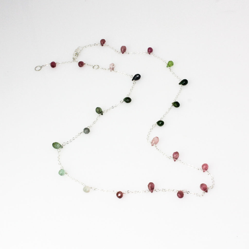 Mixed Tourmaline Briolette Station Necklace