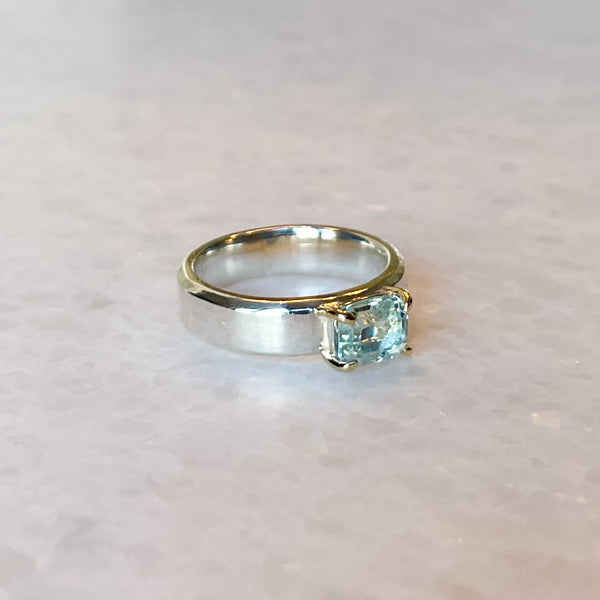 Aquamarine Emerald Cut Solitaire Band Ring