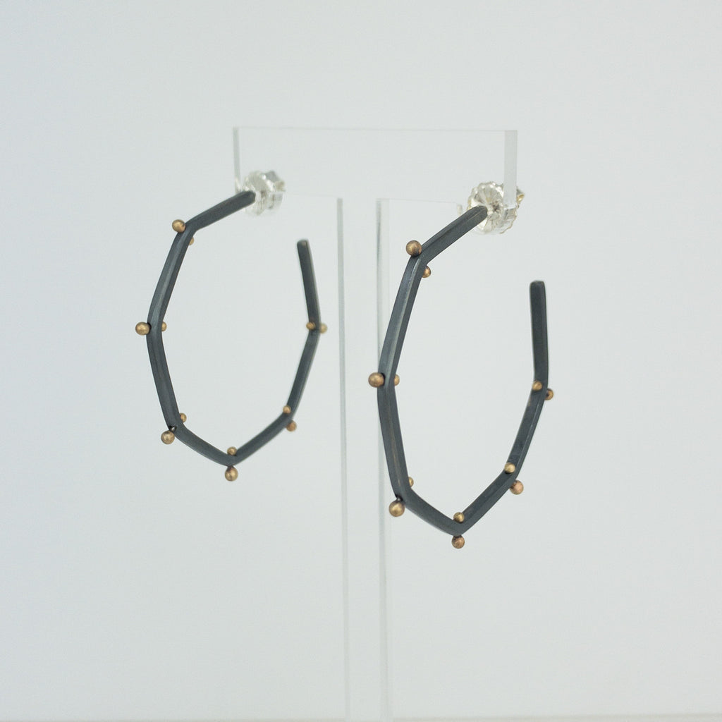 Black and gold Stud Hex Hoops