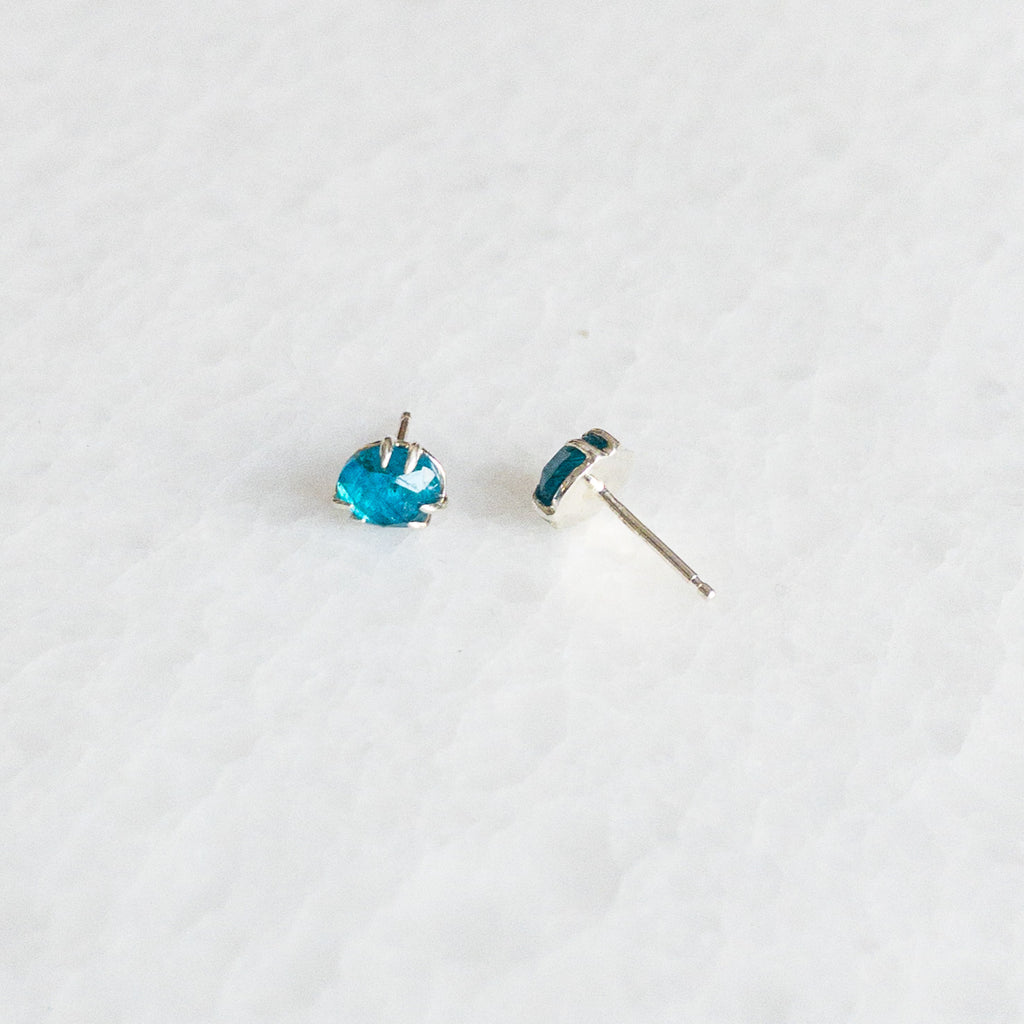 Apatite Rose Cut Stud Earrings