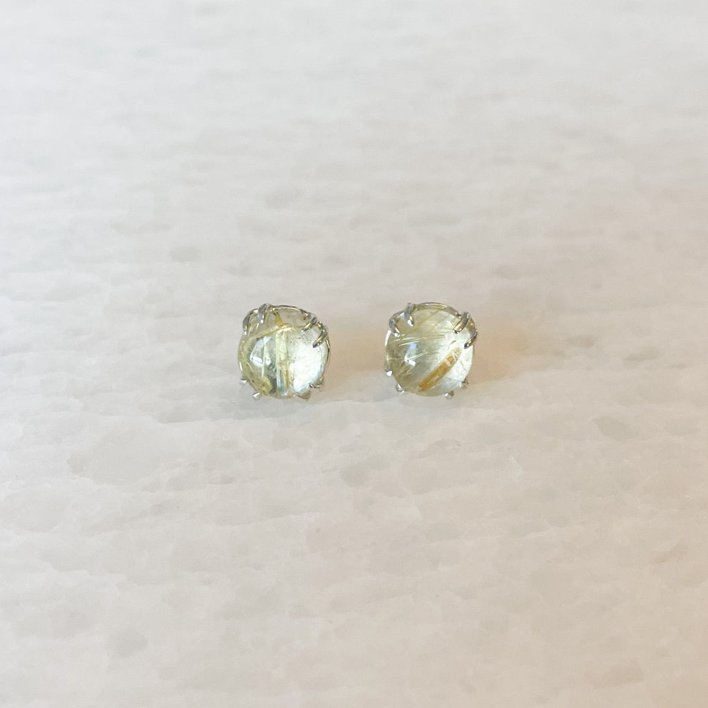 Golden Rutilated Quartz Stud Earrings