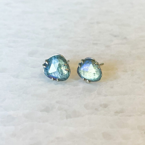 Labradorite Rose Cut Stud Earrings