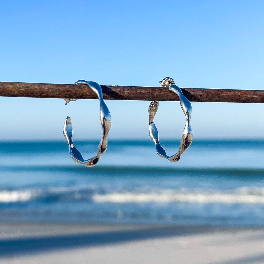 Gentle Wave Hoop Earrings
