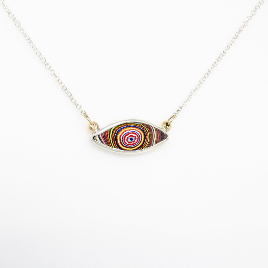 Fordite Evil Eye Necklace