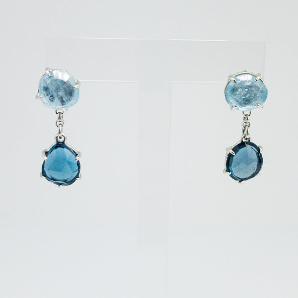 Aquamarine and Blue Topaz Convertible Drop Earrings