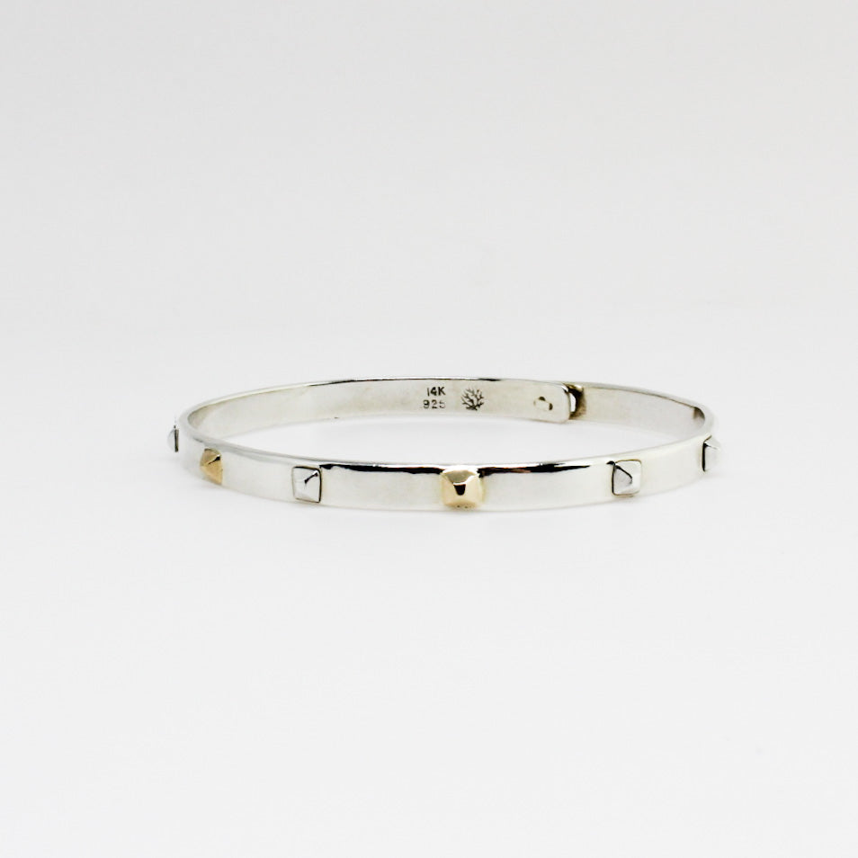 Silver and Yellow Gold Pyramid Bangle Bracelet