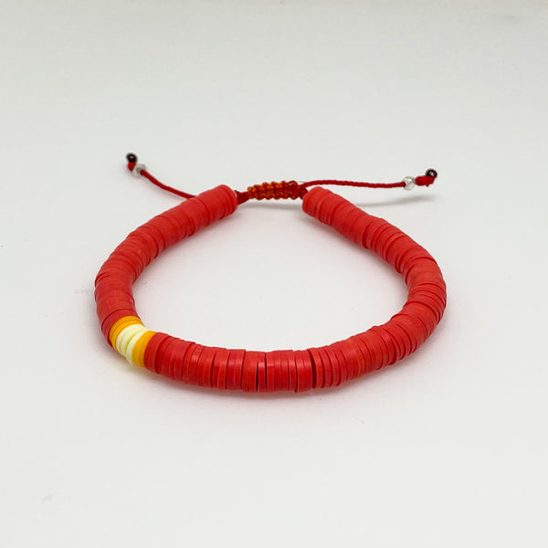 Burnt Orange/Red and Yellow Vinyl Bracelet