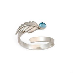 Fern Leaf Adjustable Ring - Multiple Stone Options