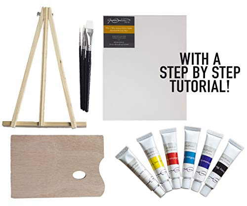 Art Kit w/ Painting Instruction Course - Educational 13 Piece All-in-One Fine Art Kit with 15 Step-by-Step Instructional Painting Videos, Table Easel, Brushes, Acrylic Paint, Artists Palette, 11x14in Canvas