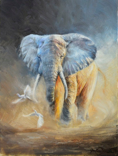 Elephant and Egrets