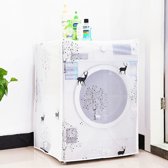 1PC Printing Washing House Machine Dust Cover Waterproof Sunscreen Organzier For A Drum Type Accessories Supplies