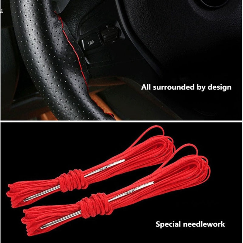 38cm Steering Wheel Covers soft Genuin Leather braid on the steering-wheel of Car With Needle and Thread Interior accessories