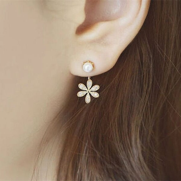 2019 Korea Hottest Fashion Women's Front & Back Post-hanging Earrings Six Leaf Flower Crystal Stud Earrings For Women Jewelry