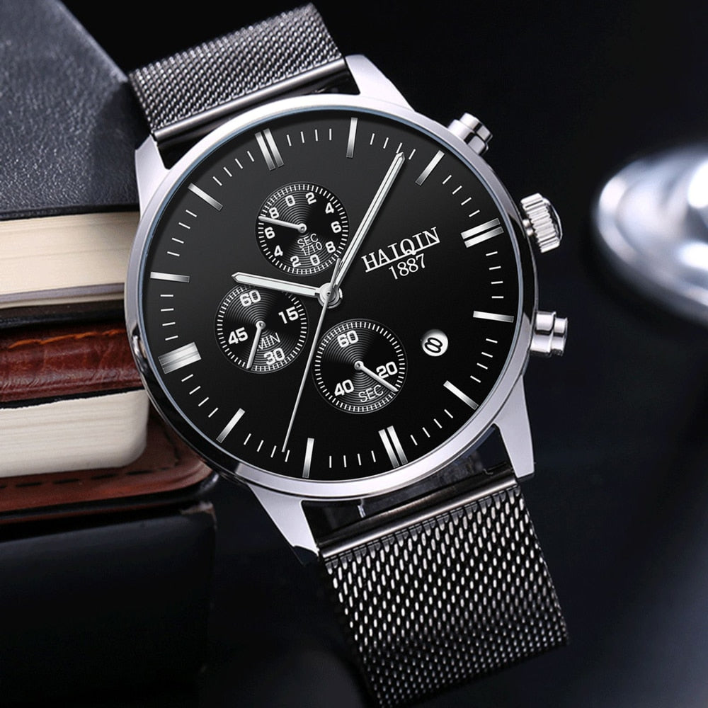 HAIQIN 2019 Fashion Mechanical mens watches top brand luxury sport wristwatch men waterproof Quartz mens clock Relogio Masculino