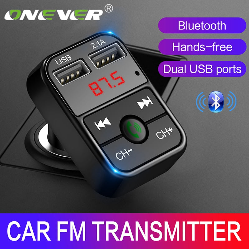 Onever Bluetooth FM Transmitter Car MP3 Audio Music Player Dual USB Radio Modulator Car Kit HandsFree With 5V 2.1A USB Charger