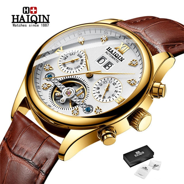 Automatic Mechanical Men watch HAIQIN Mens Watches Top Brand Luxury Business Waterproof Military Tourbillon Clock reloj hombre