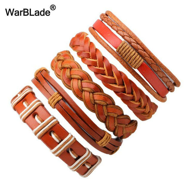 WBL 2018 New Fashion 4pcs/set Men Bracelet Vintage Genuine Leather Braid Bracelets Bangles  For Women Punk Wristband Man Jewelry