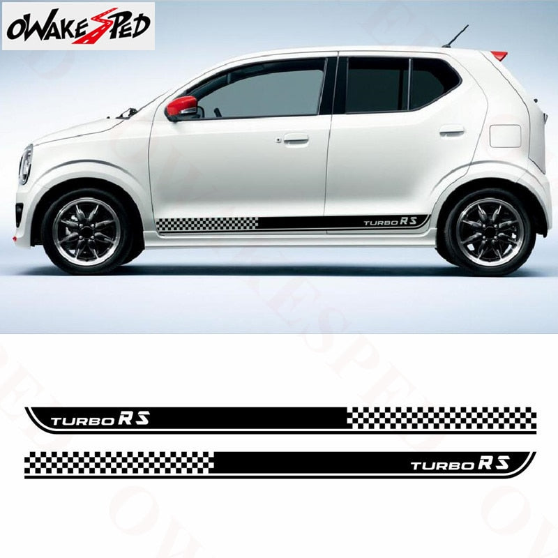Sport Turbo Stripe Car Sticker For Suzuki Alto RS Racing Lattices Vinyl Decal Auto Door Side Skirt Stickers Exterior Accessories