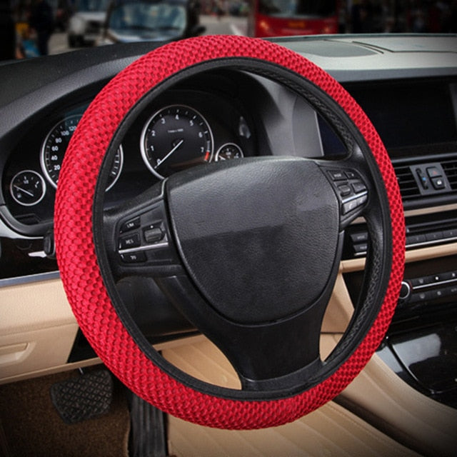 New Four Seasons Universal Sandwich Set ice Silk Steering Wheel Cover Car 38CM