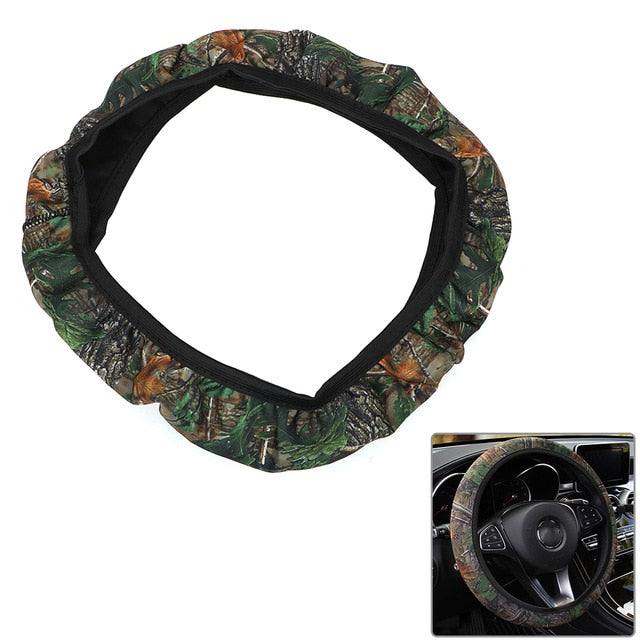 SBR Lycra Steering Cover Interior Accessories Fit For Most Cars DIY Car Steering-wheel Cover Camouflage Anti-slip