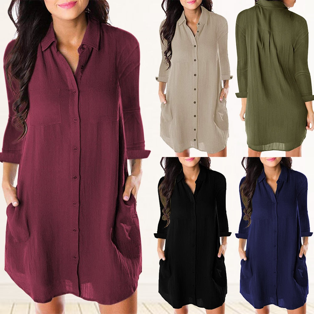 Women Loose Solid Long Sleeve Dresses Shirt