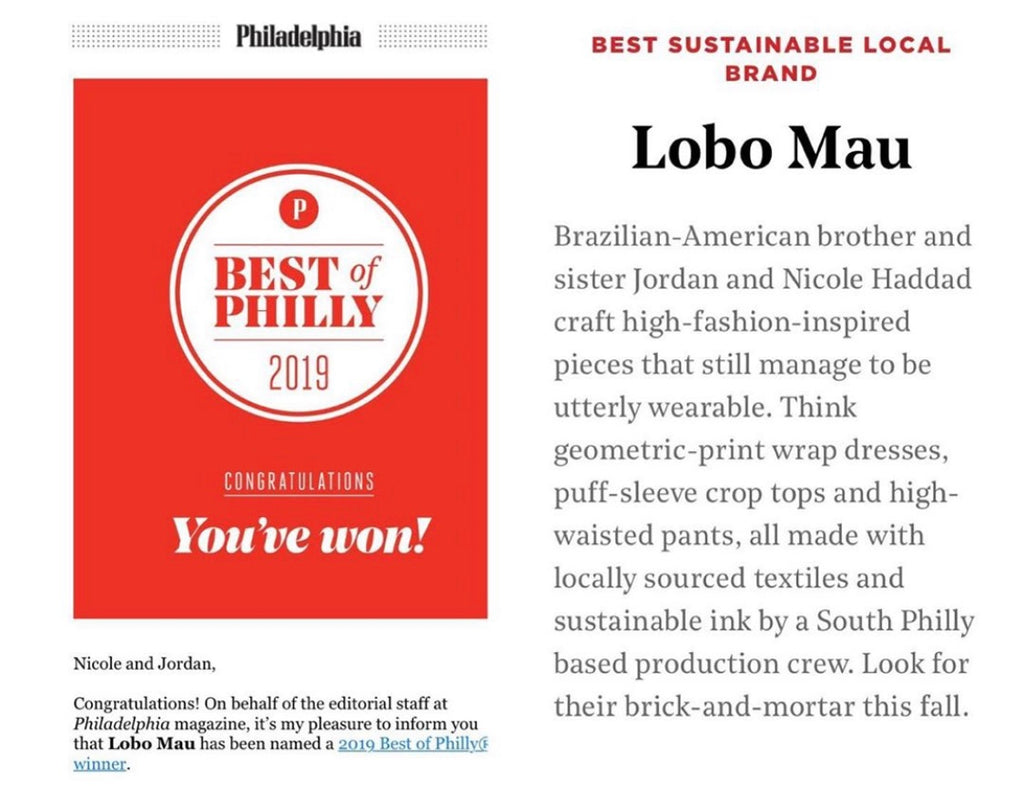 We Won Best of Philly 2019: Best Sustainable Brand!