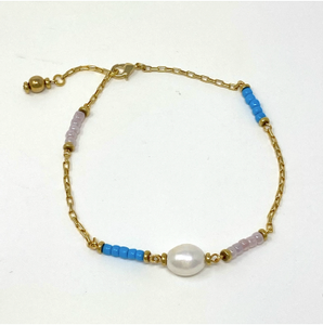 Havré - Pearl Anklet in Digital Blue & Lilac