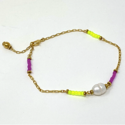 Havré - Pearl Anklet in Citrine & Orchid