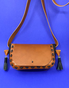 Cognac - Black Shoulder Bag